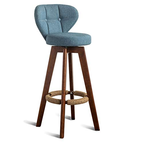 AIDELAI Bar Stool High Stool Dining Chair- Wood Barstool | Home Dining Chair Restaurant Cafe High Stool Fabric Backrest and Seat Seat Height 74CM (Color : Blue mat)