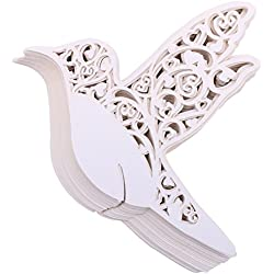 DriewWedding Bird Shape Table Paper Place Card Escort Name Cards, 100PCs Wedding Place Memo Note Card Wine Glass Seat Card Wedding Party Decoration