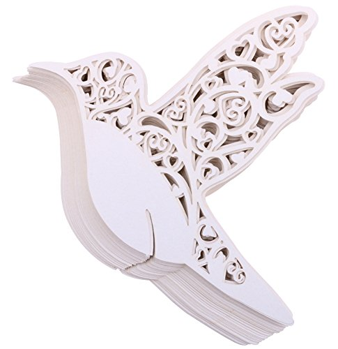 DriewWedding Bird Shape Table Paper Escort Name Cards, 100PCs Wedding Place Memo Note Card Wine Glass Seat Card Party Supplies (Wedding Shapes)