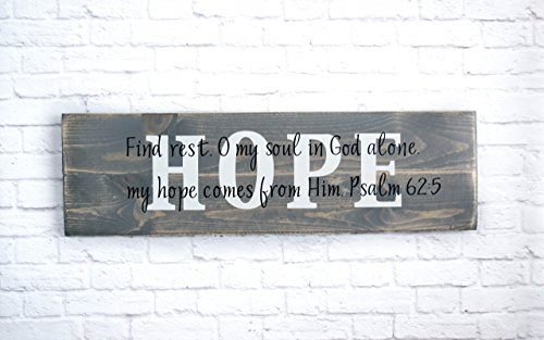 Christian Wood Sign – Bible Verse Wall Art – Hope Wall Décor