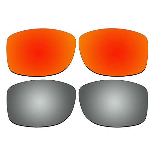 Replacement Polarized Fire Red and Titanium Lenses for Oakley Jupiter Squared - Jupiter Oo9135 Squared