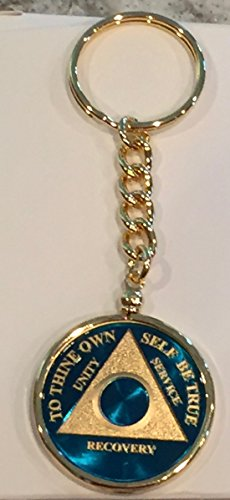 Blue Gold Plated Any Year 1 - 65 AA Medallion In Keychain Removable Sobriety Chip Holder