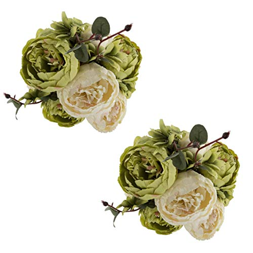 EZFLOWERY 2 Pack Artificial Peony Silk Flowers Arrangement Bouquet for Wedding Centerpiece Room Party Home Decoration, Elegant Vintage, Perfect for Spring, Summer and Occasions (2, ()