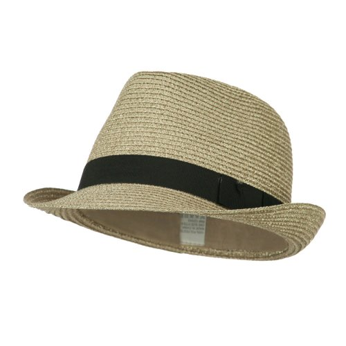 Hat Metallic E4hats - Jeanne Simmons Women's Metallic and Black Ribbon Fedora - Silver OSFM