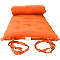 Brand New Queen Size Orange Traditional Japanese Floor Futon Mattresses, Foldable Cushion Mats, Yoga, Meditaion 60 Wide X 80 Long