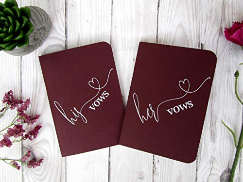 Burgundy Wedding Vow Books, Set of TWO Vow Booklet, Navy Blue Vow Books, Kraft Wedding Book, His Vow Book, Her Vow Book, Wedding Vow Journal