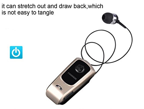Wireless Clip Retractable Bluetooth V4 0 Headset Earphone For Iphone 6S  Gold