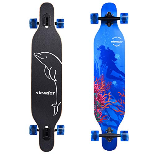 - Slendor Longboard Skateboard 42 inch Drop Through Deck Complete Maple Cruiser Freestyle, Camber Concave