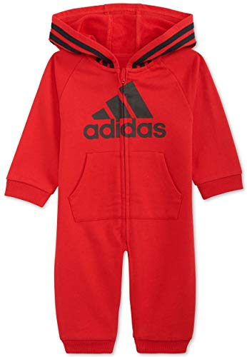 adidas Baby Boys' and Baby Girls Long Sleeve Hooded Coverall (Red, 18 Months)