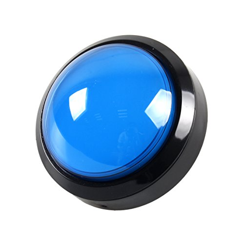EG STARTS 4 Inches Arcade Buttons LED 100mm Larger Big Dome Convex Type Lit Illuminated Push Button for For Arcade Machine DIY Kit & Raspberry Pi Game Part ( Blue (Large Switch)
