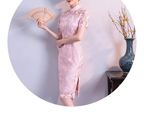 動く考案する位置する刺繍レース镂空の長いファッションスリムセクシーなドレススリーブドレス,ピンク,S