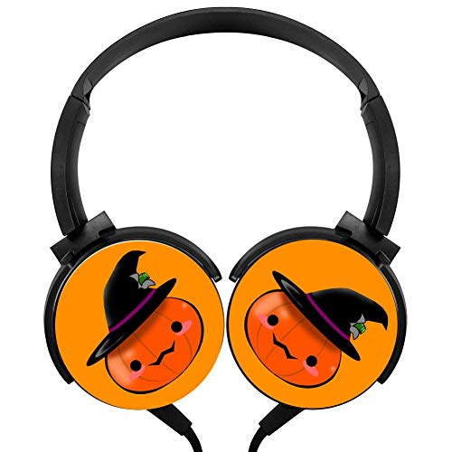 Cute Halloween Pumpkin Headphones 3D Printed Over-Ear Lightweight Headphone for Kids Men Women
