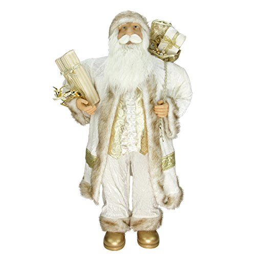 "picture of 36"" Glorious Winter White and Ivory Standing Santa Claus Christmas Figure with Gift Bag"