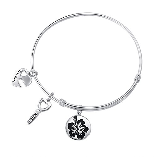 925 Sterling Silver Expandable Best Friend / Family Love Inscriptions Bangle Gift for Women Girls, 7.5