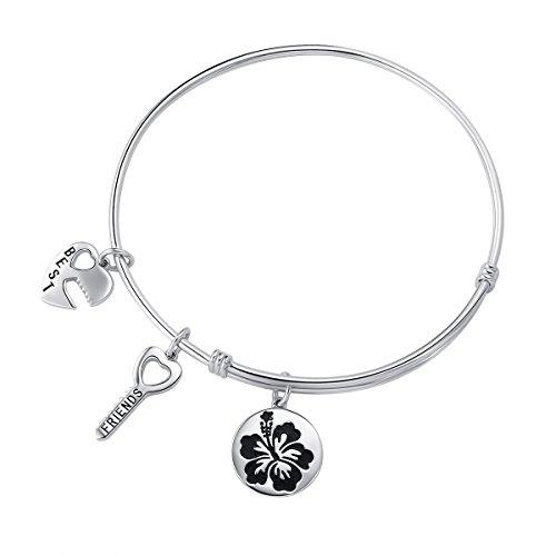 Friendship Bangle 925 Sterling Silver Soul Sisters Best Friend Heart Locket Key Charm Expandable Bracelet Gift for Women (Silver Best Friend Heart)