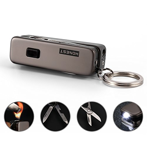 Key Chain Flashlights with Bright LED Light, Flame Lighter, Sharp Knife, Bottle Opener, Nail File and Mini (Lighter Opener)