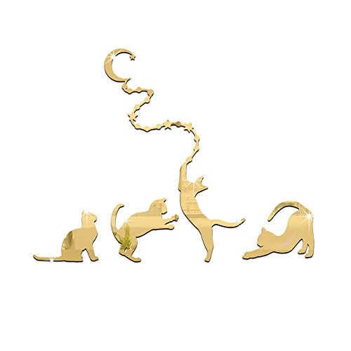 HEYING Four Cats Moon Mirror Wall Stickers 3D Kids Baby Rooms Decoration Acrylic Muursticker Home Decor Stickers (Gold)