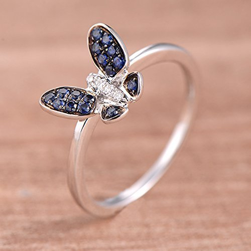 Sapphire and Diamond Ring White Gold Butterfly Shape Ring Unique Filigree Ring (Butterfly Vs2 Ring)