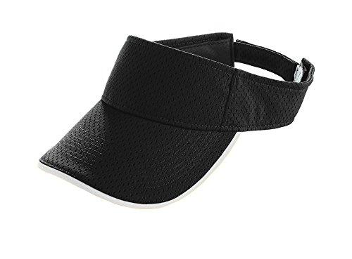 Black Mesh Visor - Augusta Sportswear Adult Athletic MESH Two-Color Visor OS Black/White