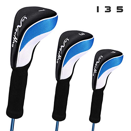 LONGCHAO Golf Head Covers Driver 1 3 5 Fairway Woods Headcovers Long Neck Neoprene Protective Covers Fits All Fairway and Driver 3pcs 1 Womens Fairway Wood
