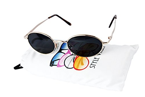 V3135-vp Vintage Retro Classic Oval metal Sunglasses (Small lens) (C019 Gold, - Sunglasses 1940s