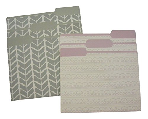 Purple and Gray Decorative File Folders (Set of 6)