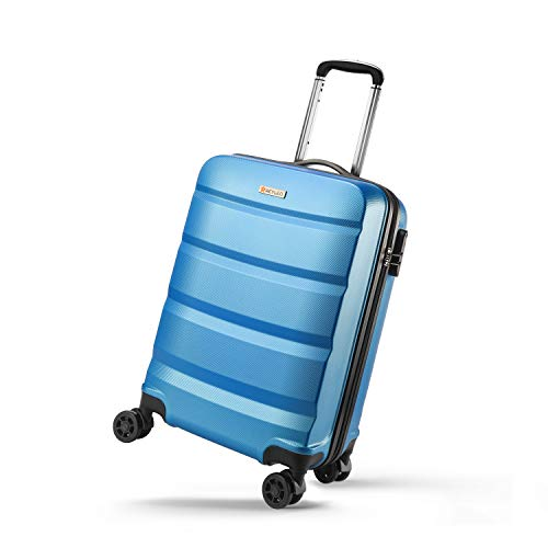 REYLEO Hand Luggage Suitcase Carry on Cabin Luggage Hard Shell Travel Business Trolley Super Lightweight 8 Silent Wheels…