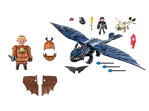 Playmobil Fishlegs with Flight Suit and Hiccup and Toothless with Baby Dragon]()