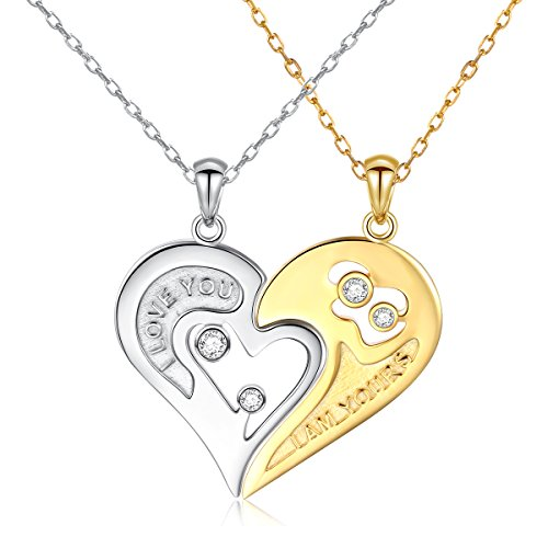 S925 Sterling Silver Couple Necklace Engraved I Love You More Than The Miles Between Us