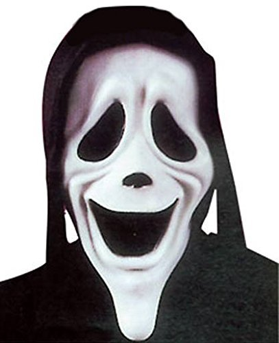 Fancy Me Hombre Smiley Terror Película Máscara Película Halloween Scream Horror Accesorio para Disfraz - Negro