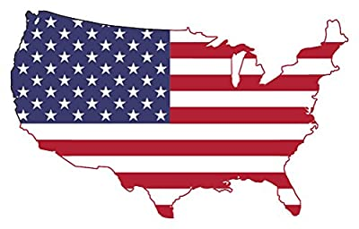 """American Flag Map Wall Sticker 24"""" x 16"""" 