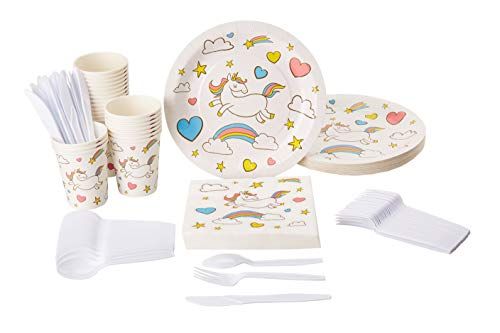 Disposable Dinnerware Set - Serves 24 - Unicorn Themed Party Supplies for Birthdays, Baby Showers, Rainbow Unicorn Design, Includes Plastic Knives, Spoons, Forks, Paper Plates, Napkins, Cups