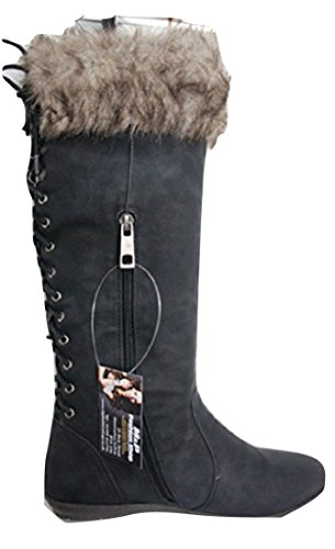 COCO Black Fur Topped Lace Back Flat Boots L9309
