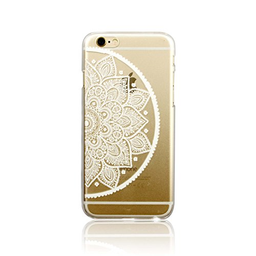 iPhone 6 Case, LUOLNH Henna White Floral Paisley Flower Mandala Hard Plastic Clear Case Silicone Skin Cover for Apple Iphone 6 4.7 inch Screen