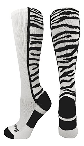 MadSportsStuff Crazy Socks with Safari Tiger Stripes Over The Calf Socks (White/Black, - Football Tigers White