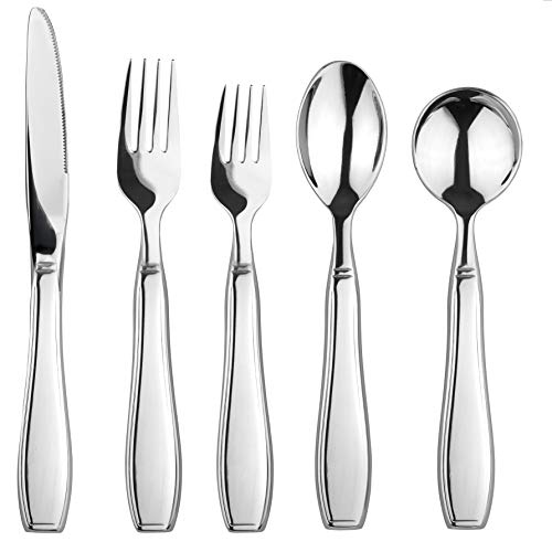Linelax Weighted Utensils for Tremors and Parkinsons Patients - Heavy Weight Steel Silverware Set of Knife, Fork, Teaspoon and Soup Spoon - Adaptive Eating Flatware Helps Hand Tremor, Parkinson, Arthr