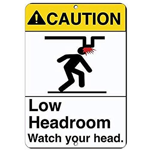 TGDB Warning Low Headroom Watch Your Head Hazard Funny Sign Gift for Women Outdoor Metal Aluminum Sign