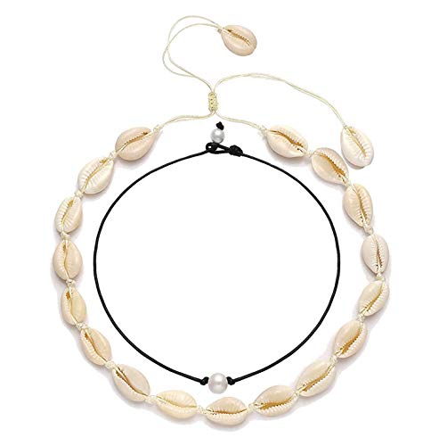 YINL Shell Choker Necklaces Natural Handmade Boho Beach Shell Necklaces Genuine Pearl Beads Chokers Leather Cord Hawaiian Style Choker Necklace for Women Men ()