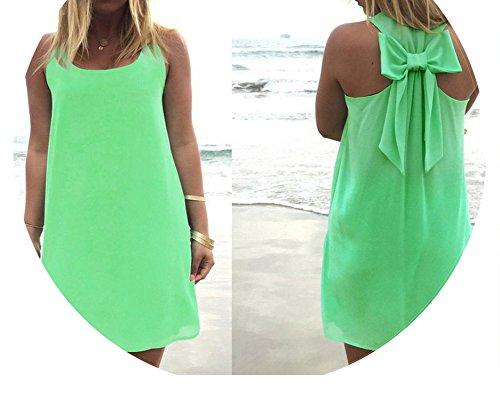 (Women Casual Chiffon Sundress Plus Size Beach Dress,Dark Green,S)