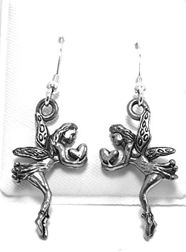 Pewter Fairy Charms on Sterling Silver Ear Wire Dangle Earrings -5405 for Jewelry Making Bracelet Necklace DIY Crafts