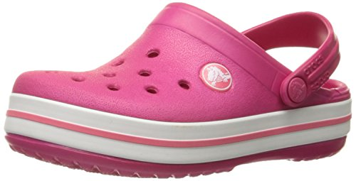 Crocs Kids' Crocband Clog (Toddler/Little Kid/Big Kid), Raspberry/White, 12-13 M US Little Kid