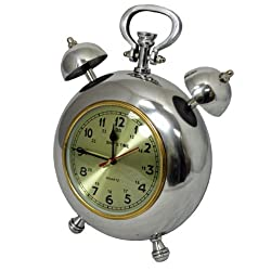 EcWorld Enterprises 7785382 Captain Ships Time 12.5 In. Polished Nickel Metal Table Clock