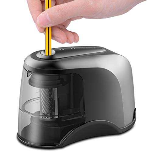Electric Pencil Sharpener, Heavy-duty Helical Blade, USB or AC or 4 AA Batteries Operated, Perfect for Artist, Student, Supplies for Classroom/Office/Home, for 6.5-8mm diameter Pencils by BIMONK