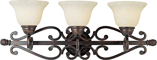 Maxim Lighting 12213FIOI Manor 3-Light Bath Vanity, Oil Rubbed Bronze with Frosted Ivory Glass ()