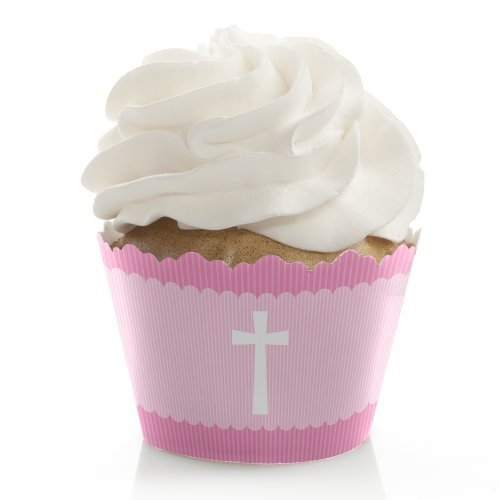 Delicate Pink Cross - Baptism Cupcake Wrappers - Set of 12