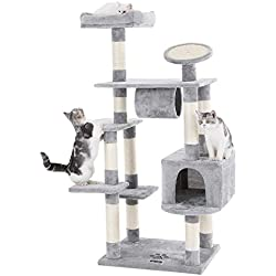 """FEANDREA SONGMICS 62"""" Large Cat Tree Condo Multi-Level Cat Tower with Scratching Post Pad Kitten House Light Grey UPCT16H"""