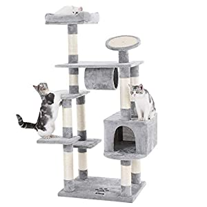 """FEANDREA 62"""" Large Cat Tree Condo Multi-Level Cat Tower with Scratching Post Pad Kitten House Light Grey UPCT16H 115"""