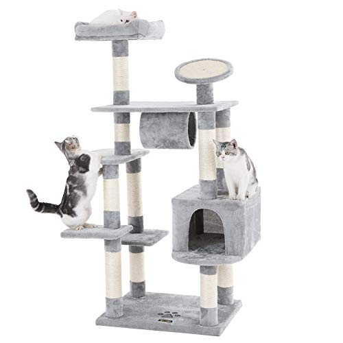 SONGMICS 62″ Large Cat Tree Condo Multi-Level Cat Tower with Scratching Post Pad Kitten House Light Grey UPCT16H