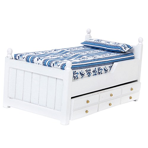 Syhonic 1/12 Dollhouse Miniature Drawer Bed Furniture Model Two Layers for - Drawer Miniature