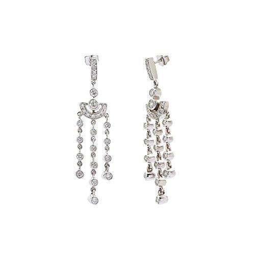 (TriJewels Round Diamond Chandelier Dangling Earrings (SI2-I1, H-I) 1.00 ctw 14K White Gold)